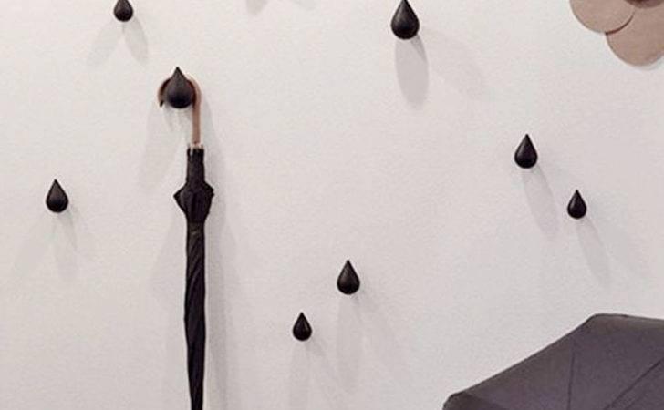 Pcs Water Drop Design Hooks Wooden Wall Hangers Home Decor