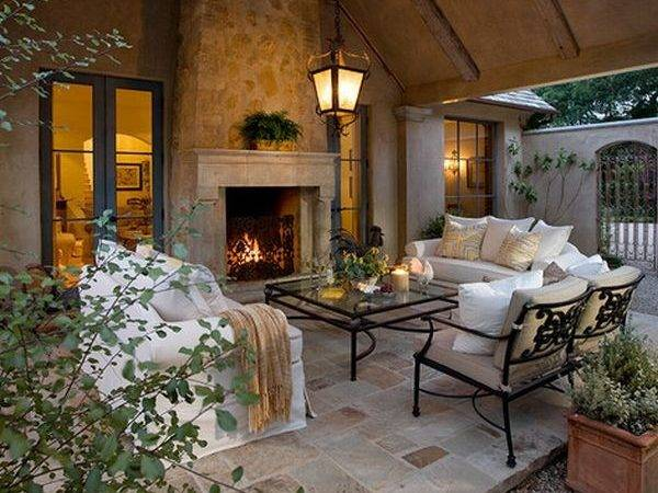 Perfect Stone Fireplace Outdoor Living Room