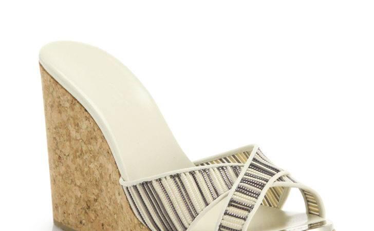 Perfume Striped Cork Wedge Mule Sandals White Off Lyst