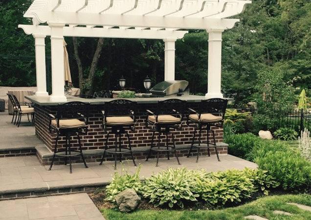 Pergola Kit Over Outdoor Kitchen New York Belmont Fiberglass