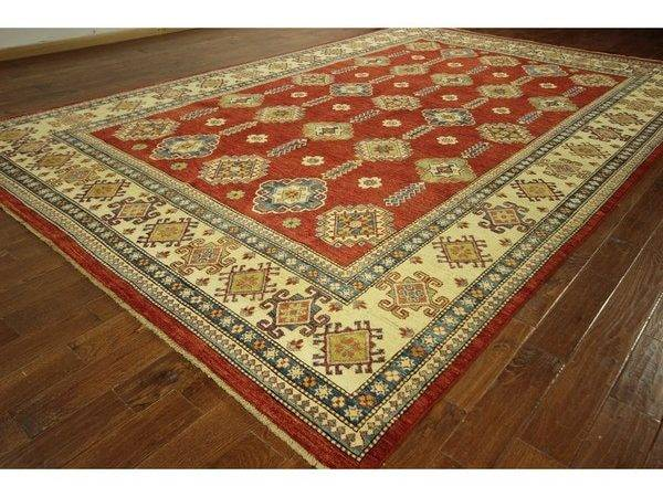 Persian Red Vegetable Dyed Kazak Hand Knotted Wool Oriental Rug