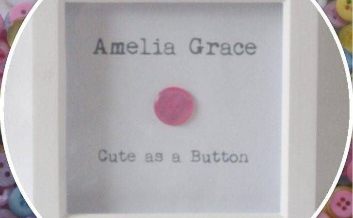 Personalised Cute Button Baby Girl Frame