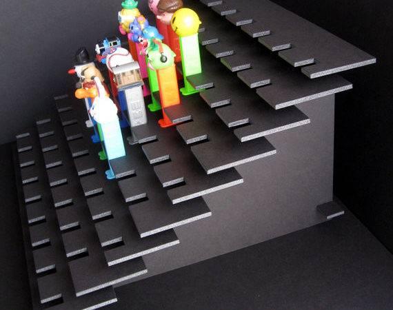 Pez Display Shelf Stadium Style Holds Dispensers Black