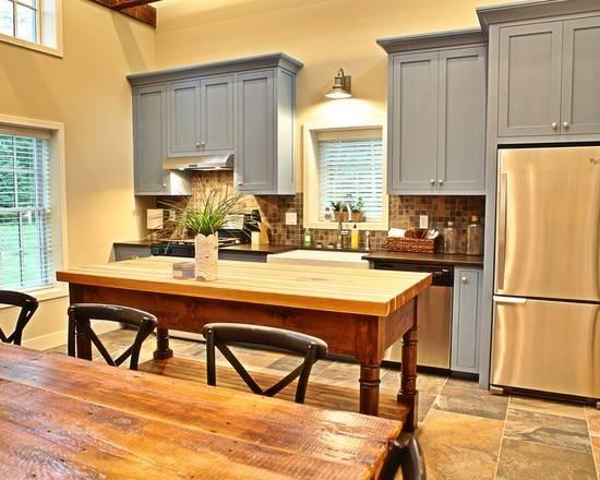 Photos Stone Tile Backsplash Blue Cabinets Slate Floors