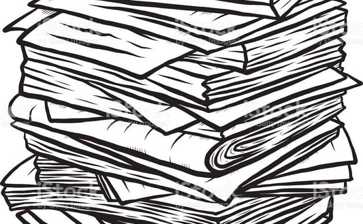 Pile Used Papers Vector Art Istock