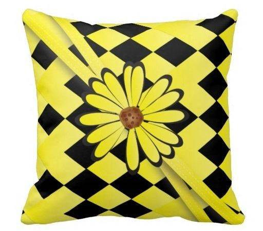 Pillow Bright Yellow Diamond Flowered Design Zazzle