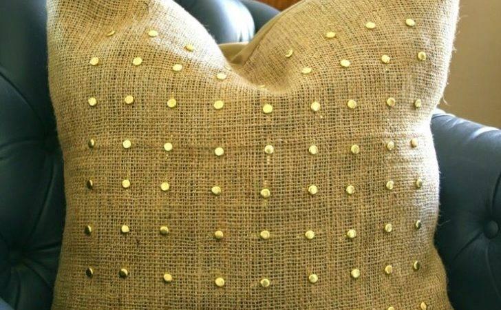Pillow Cover Burlap Throw Pillows Gold Beads Talk Diy