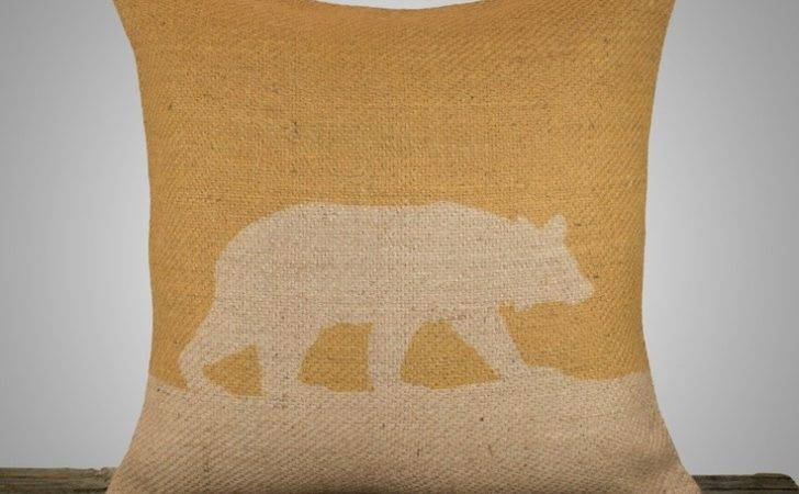Pillow Cover Mustard Yellow Burlap Throw Decorative