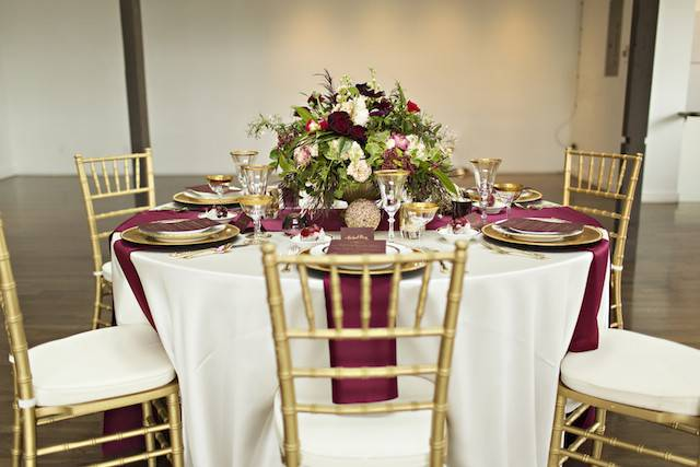 Pin Burgundy Red Silver Centerpieces Fall Indoor Reception Outdoor
