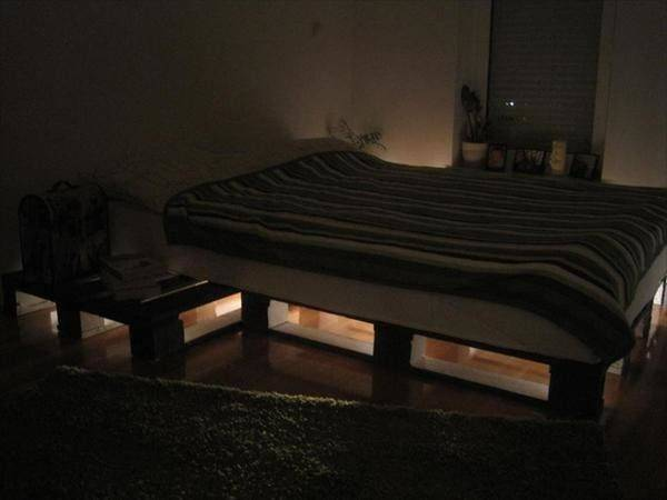 Pin Diy Lighted Pallet Bed Frame Pinterest