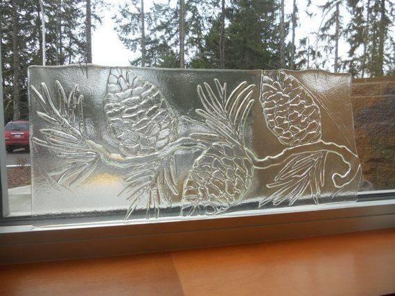 Pinecone Textured Glass Panel Sweetlusglassnthings Etsy