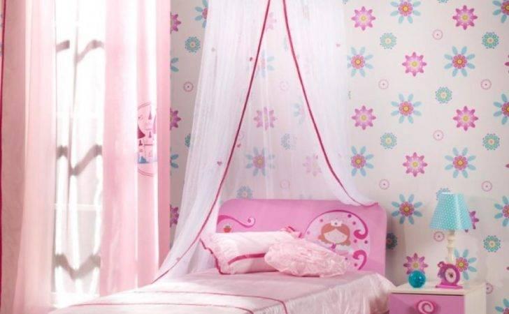 Pink Bedroom Floral Beautiful Classic Girls Room Design