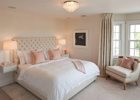 Pink Beige Bedroom Transitional Robyn Karp Interiors