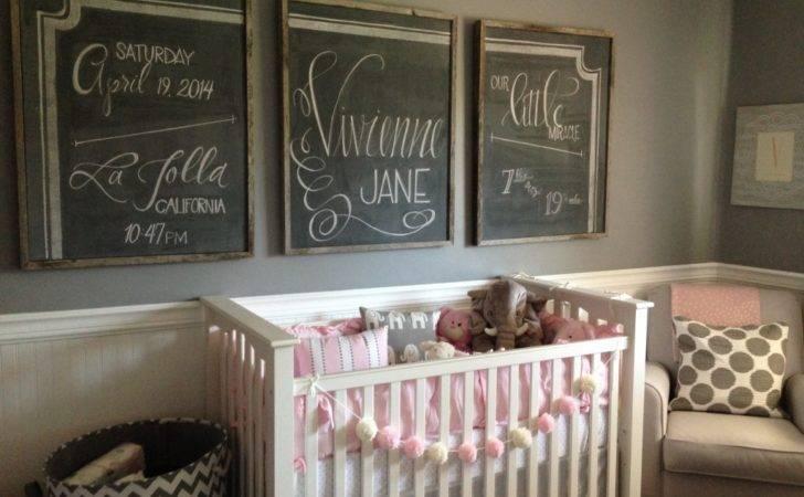 Pink Gray Nursery Chalkboard Art Project