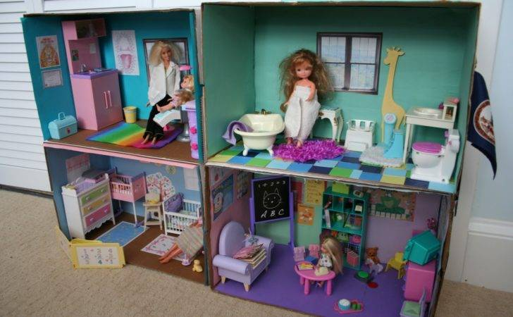 Pink Green Mama Diy Barbie Cardboard Box House