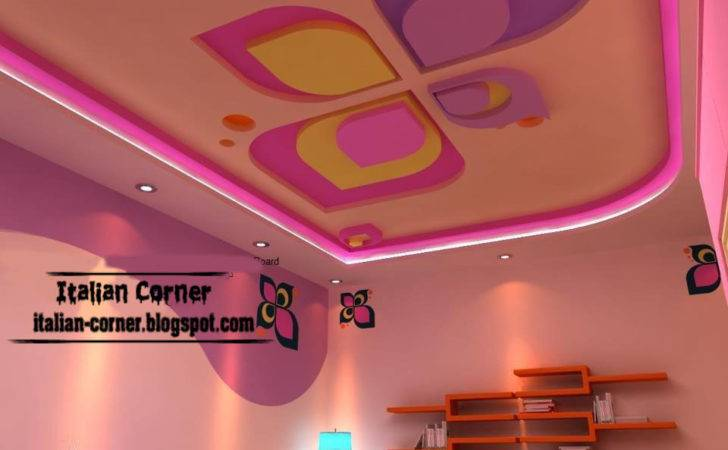 Pink Gypsum Ceiling Design Modern Girls Room