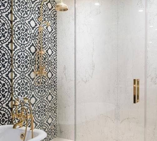 Pink Rug Black White Cement Tile Bathroom Floor Transitional