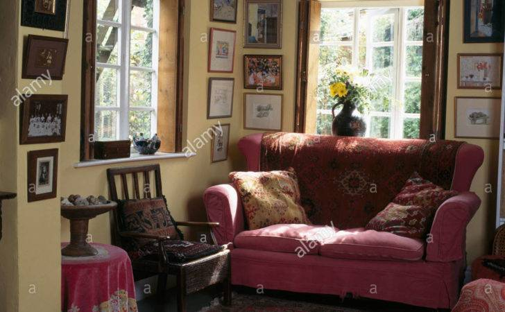 Pink Sofa Front Window Beamed Cottage Living Room