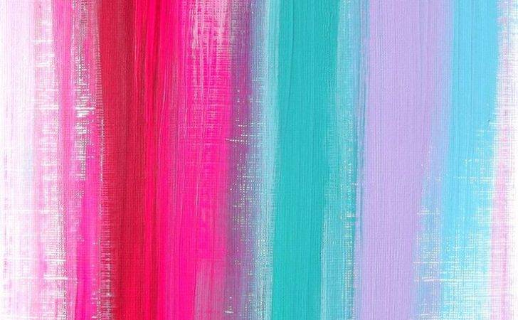 Pink Teal Ruby Original Acrylic Painting Modern Home Decor Neon