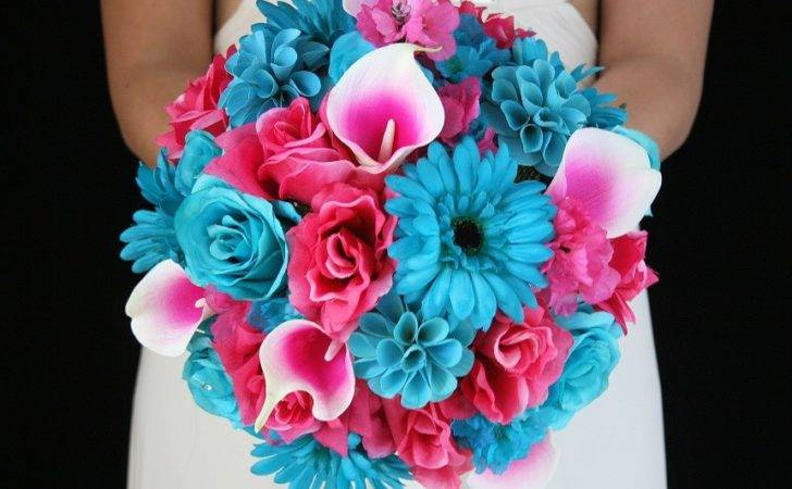 Pink Turquoise Wedding Flowers Weddings
