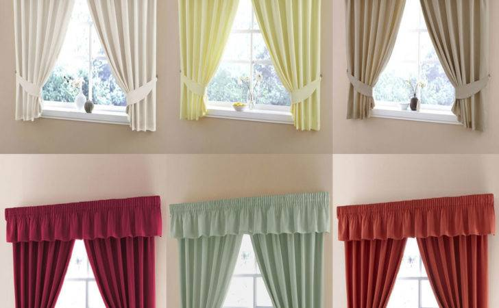 Plain Dye Half Panama Tape Top Kitchen Curtains Pelmets