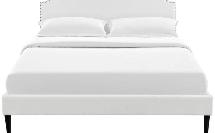 Platform Bed Round Tapered Legs Multiple Colors Materials Sizes