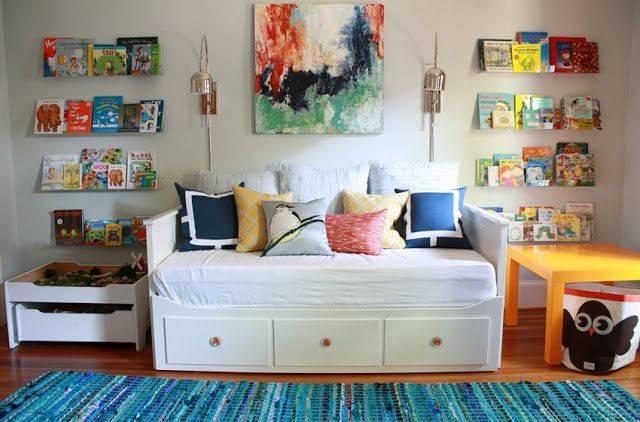 Playroom Office Daybed Like Reclaimed Wood Bookshelves