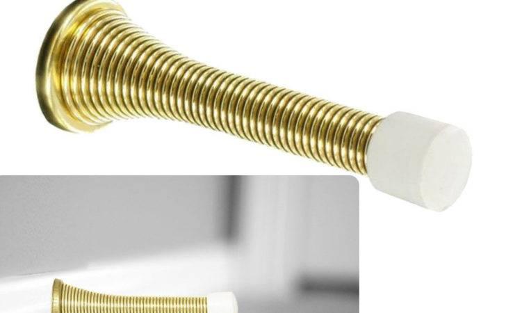 Polished Brass Flexible Spring Door Stop Doorstop Hardware