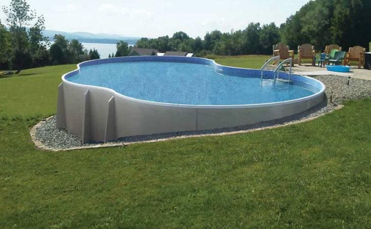 Pool Backyard Designs Unique Shape Semi Inground Overlooking