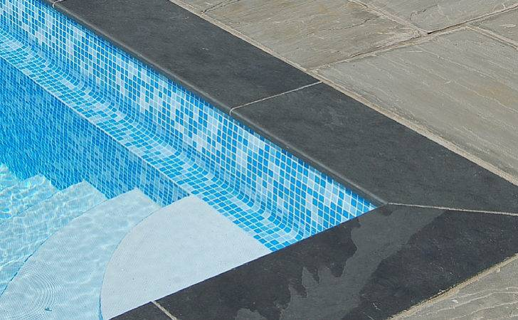 Pool Bullnose Edging Smooth Black Slate