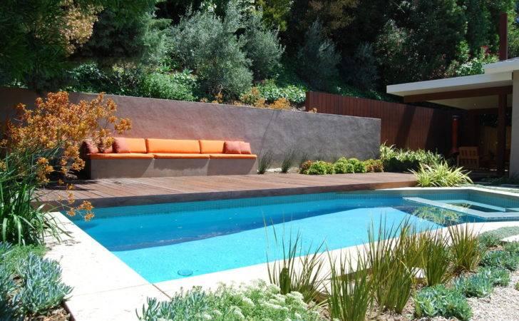 Pool Deck Ideas Modern Backyard Built Bench