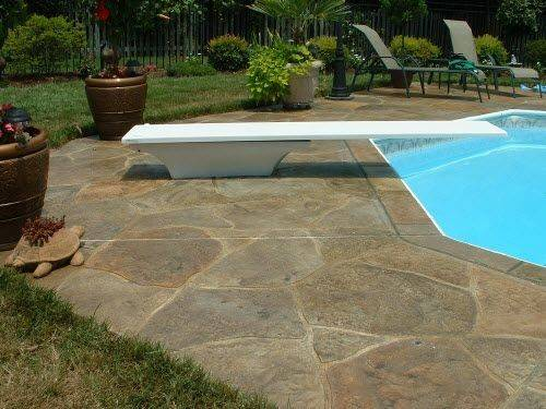 Pool Deck Resurfaced Stamped Concrete Overlay Great
