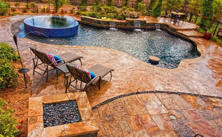 Pool Deck Stamped Concrete Slate Skin Pattern Looks Amazing