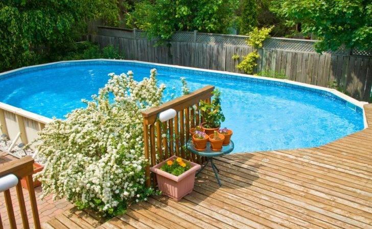 Pool Deck Wood Around Above Ground Swimming