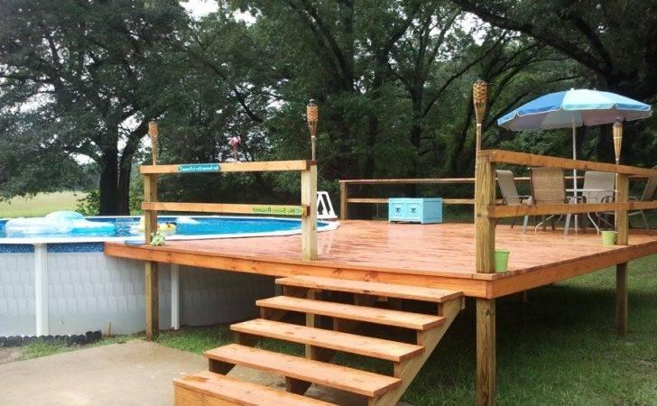 Pool Decks Above Ground Designs Part Wood Landscape Deck