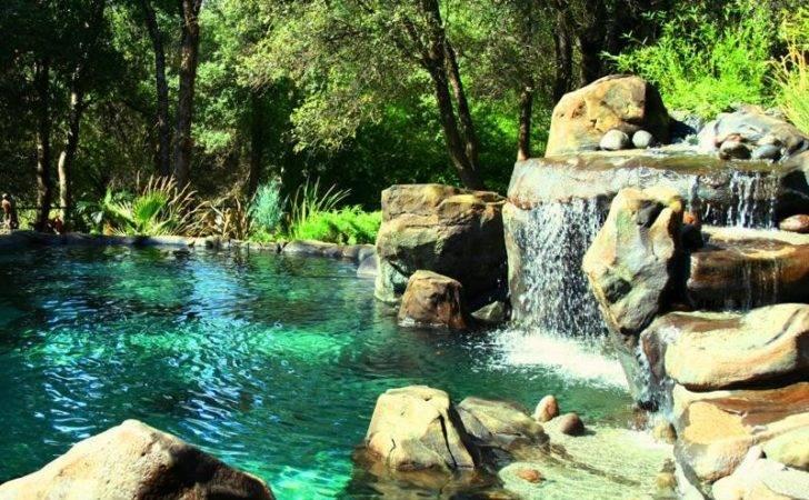 Pool Design Waterfall Island Natural Rock Swimming Designs Ideas
