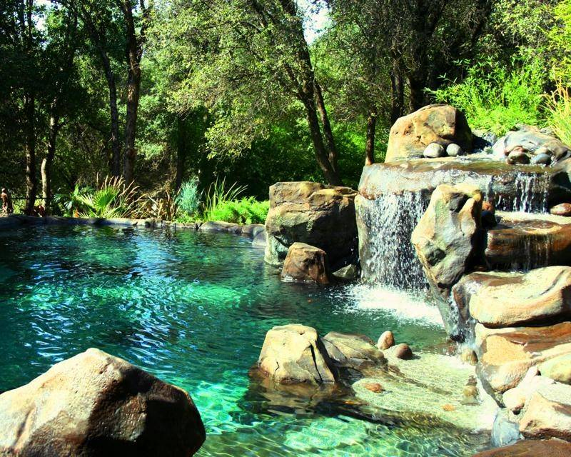 Pool Design Waterfall Island Natural Rock Swimming Designs Ideas