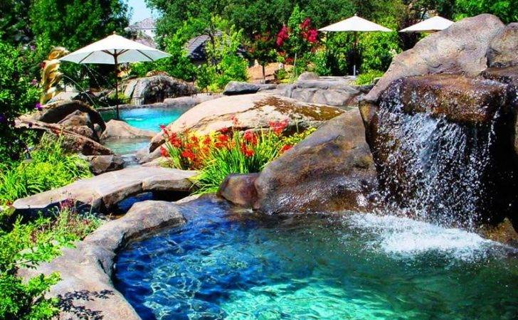 Pool Hot Water Waterfall Into Natural Rock Swimming