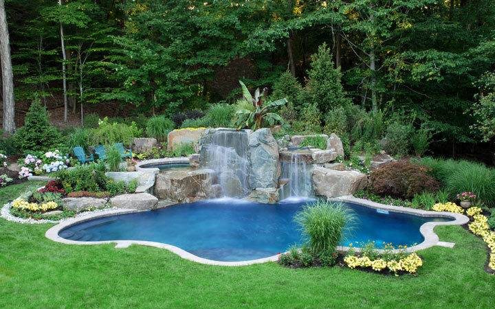 Pool Landscaped Tiered Beds Flowers Plants Waterfall