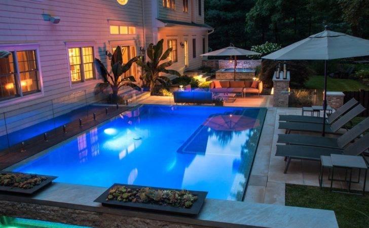 Pool Lights Illuminate Spa Outdoor Fireplace