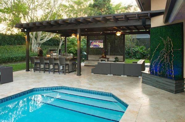 Pool Outdoor Kitchen Designs