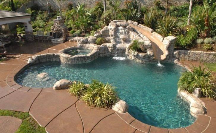 Pool Rock Slide Garden Landscape Outside Pinterest
