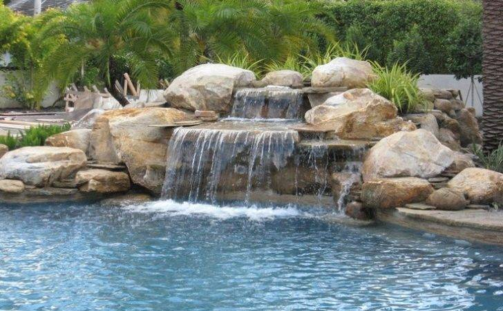 Pool Rock Waterfall Ideas Landscaping Pinterest