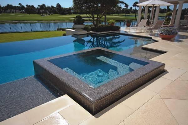 Pool Tiles Small Pools Backyard Makeover Infinity Spa