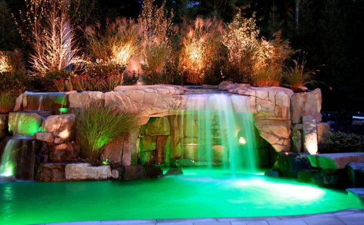 Pool Waterfall Landscaping Led Lighting Design Ideas Saddle River