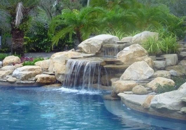 Pool Waterfall Rock Garden South Florida Contemporary
