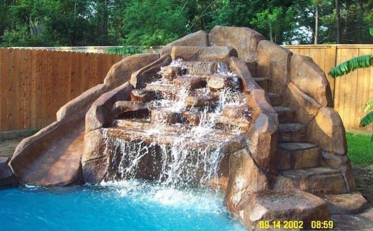 Pool Waterfall Slide Swimming Pools Backyard Ideas