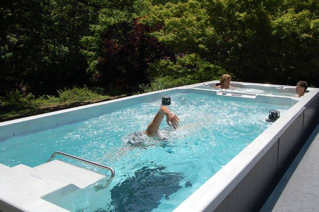 Pools Dual Temperature Swim Spa Hot Tub Contemporary Swimming