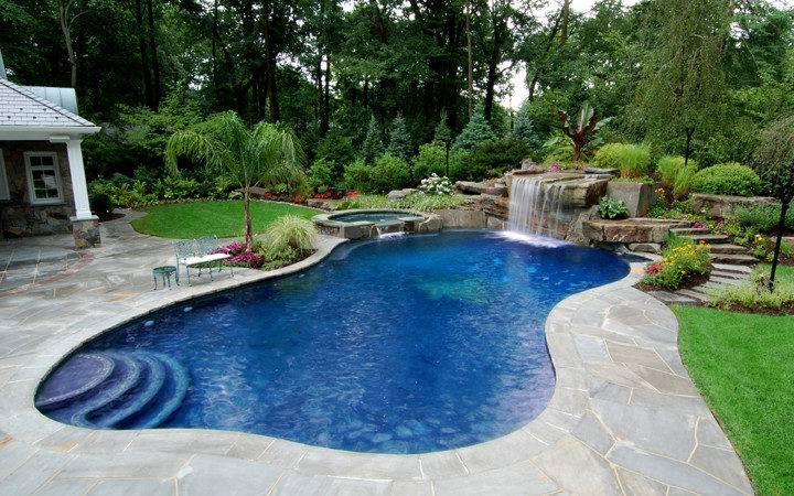 Pools Pleasant Swimming Pool Design Waterfalls Awesome
