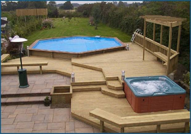 Pools Simple Wooden Decks Deck Small Swimming Pool